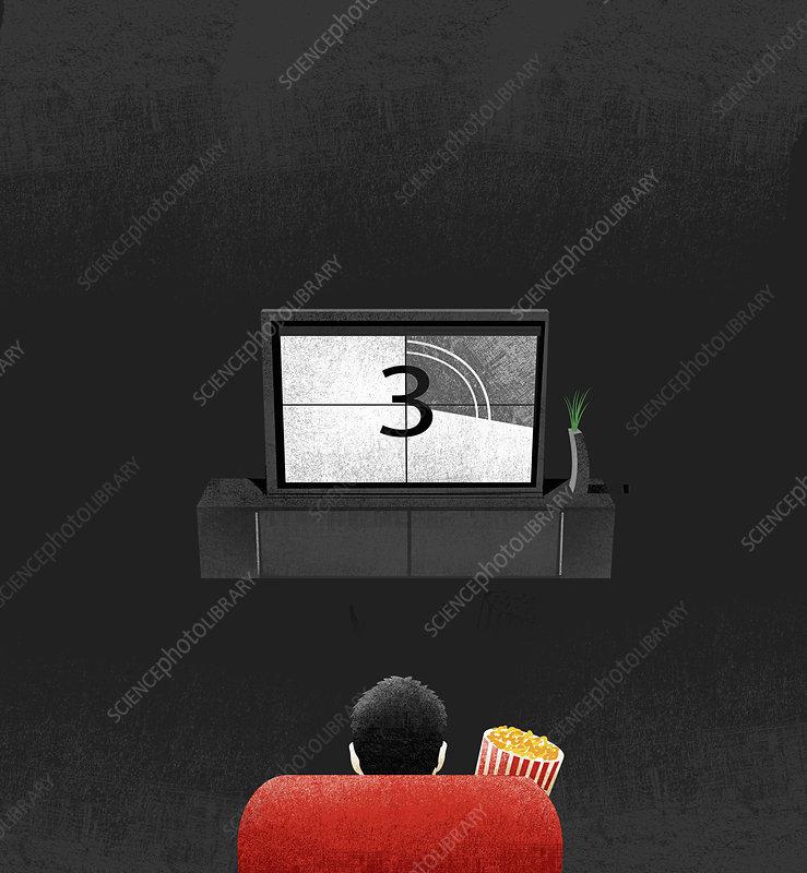 Man with popcorn watching television, illustration
