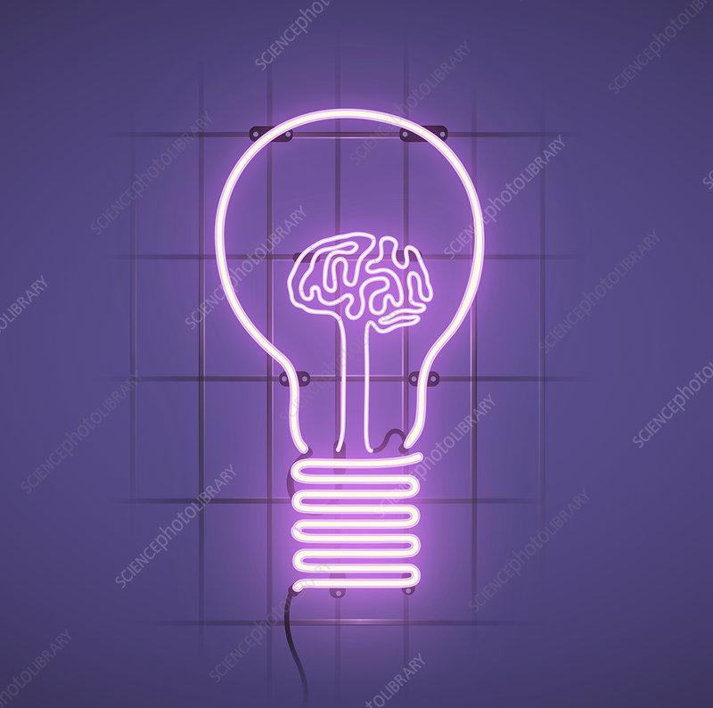 Human brain filament inside of bulb, illustration
