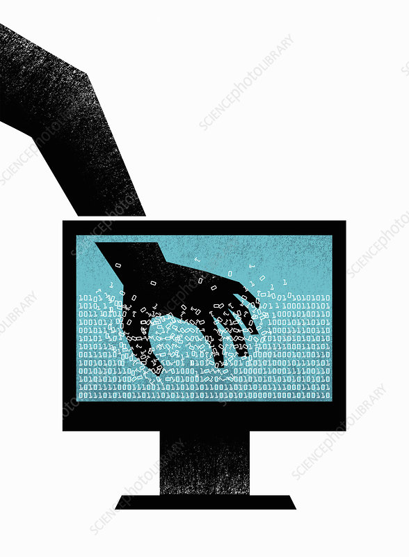 Hand grabbing binary code data, illustration