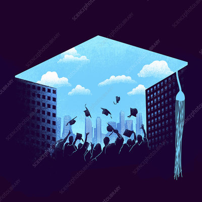 Graduates throwing mortarboards, illustration