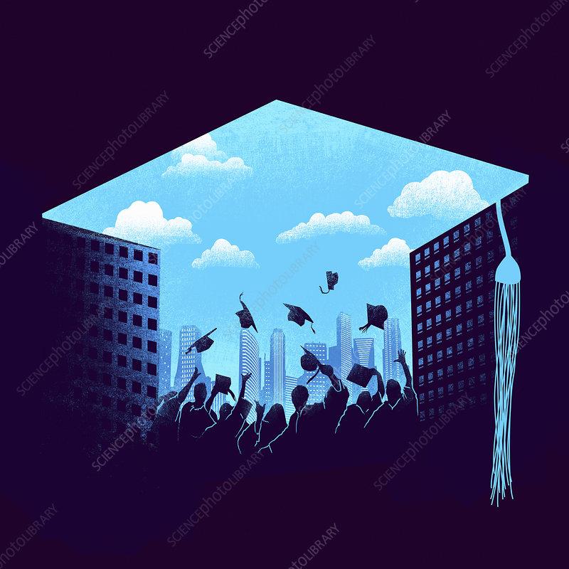 Graduates throwing mortarboards, illustration