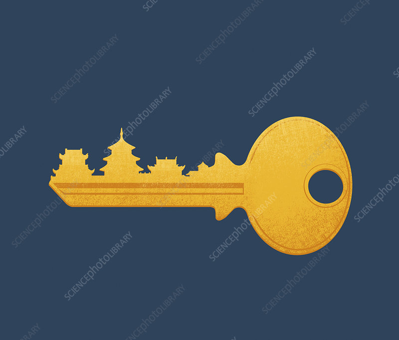 Chinese buildings on key, illustration