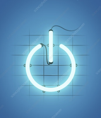 Illuminated power button, illustration