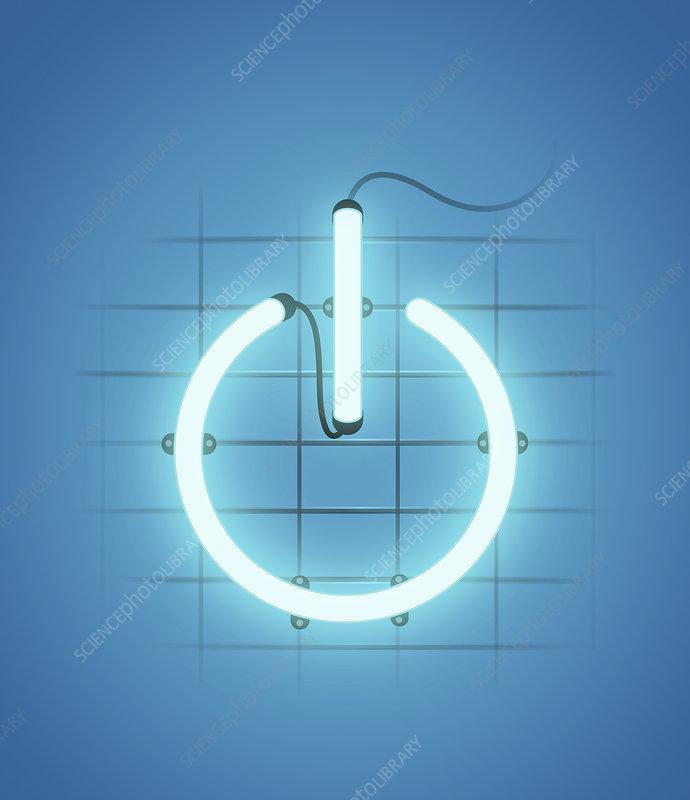 Illuminated power button, illustration