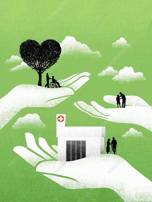 Caring hands helping vulnerable people, illustration