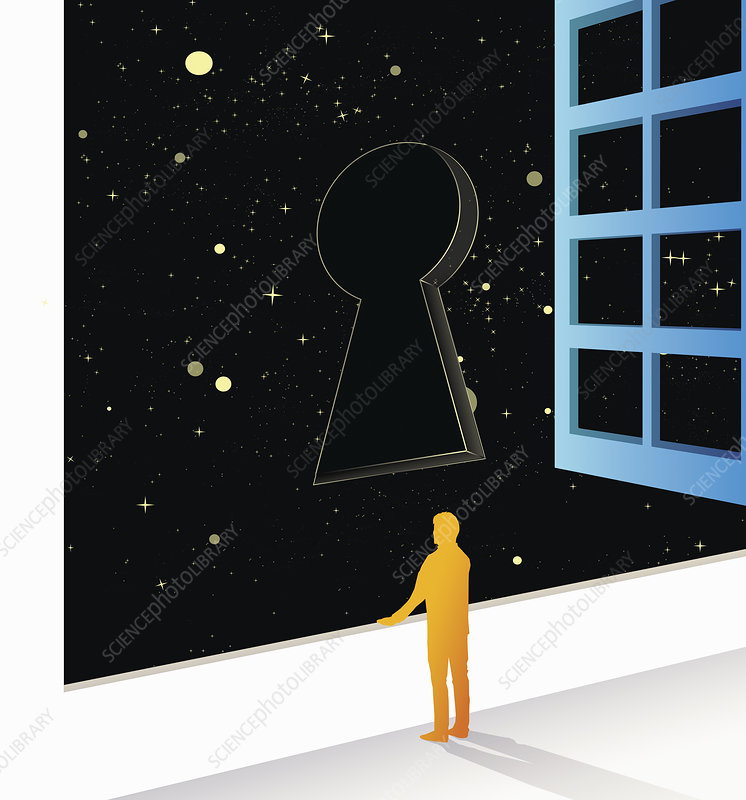 Man looking out of window at keyhole, illustration