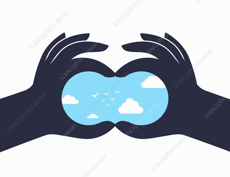 Hands forming binoculars seeing future, illustration