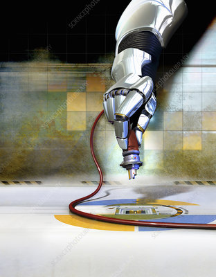 Robotic arm with tool, illustration