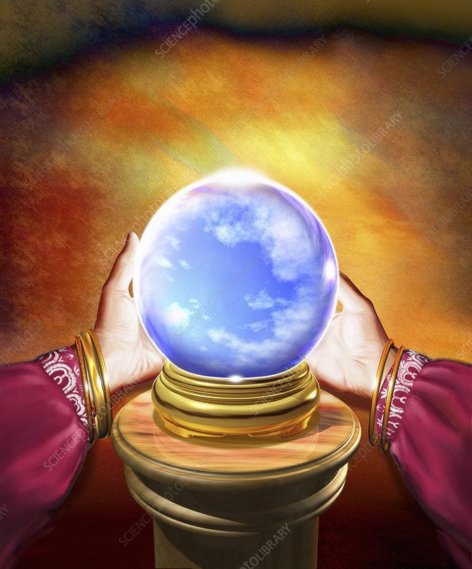Hands of fortune teller holding ball, illustration