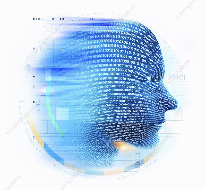 Binary code streaming over blue human head, illustration