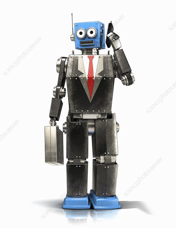 Robot businessman talking on cell phone, illustration
