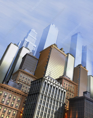 Skyscrapers in city financial district, illustration