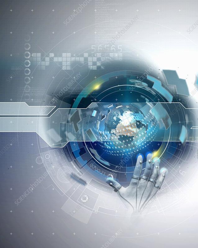 High tech hand touching cyberspace globe, illustration