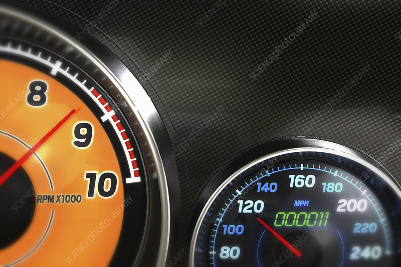 Close up of speedometer dashboard dials, illustration