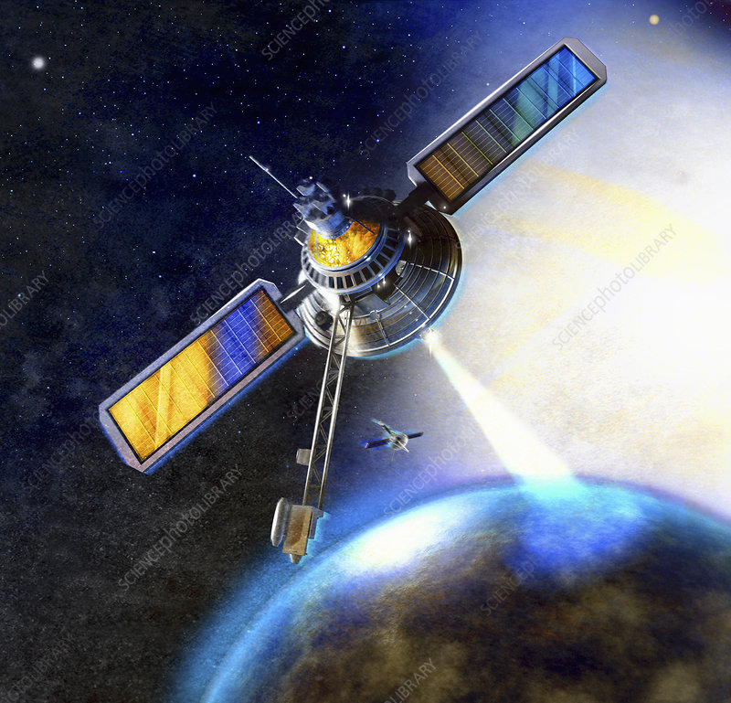 Satellite beam communicating with earth, illustration
