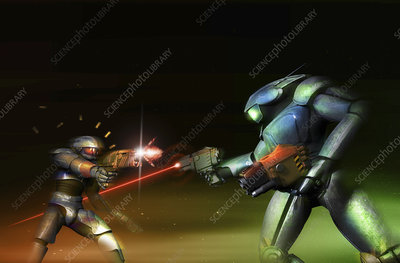 Robots fighting with laser guns, illustration