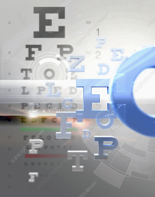 Letters from eye test chart, illustration