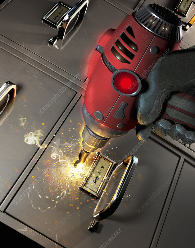 Power drill drilling into filing cabinet, illustration
