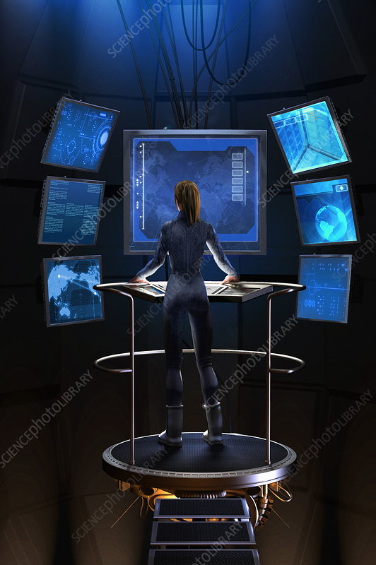 Woman standing at control panel, illustration