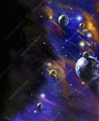Planets in outer space, illustration