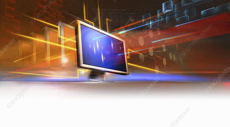Light beams and data streaming, illustration