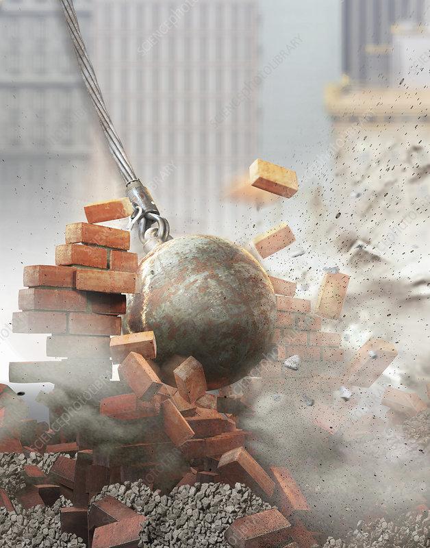 Wrecking ball hitting brick wall, illustration