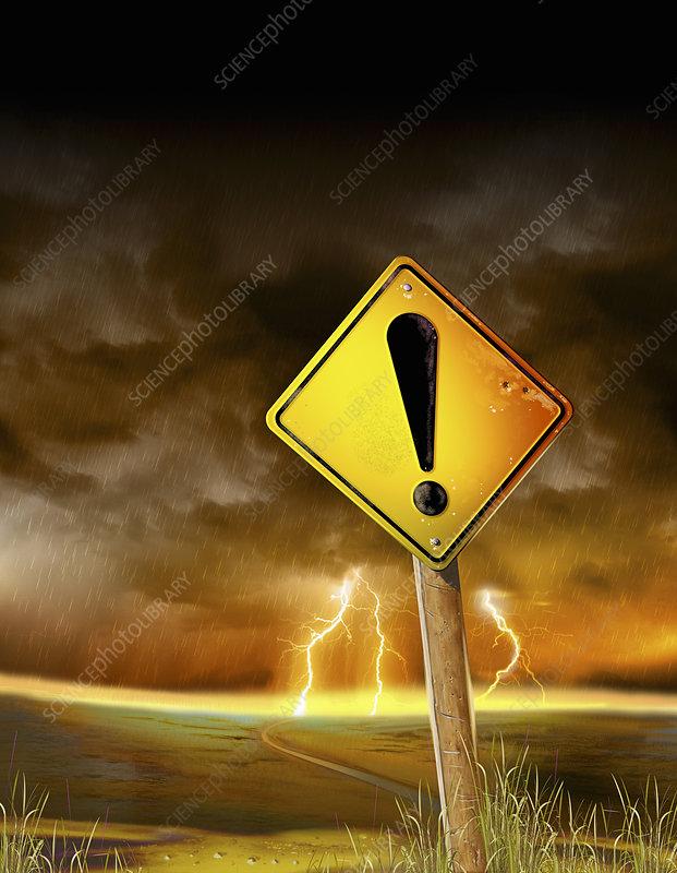 Hazard warning exclamation point, illustration