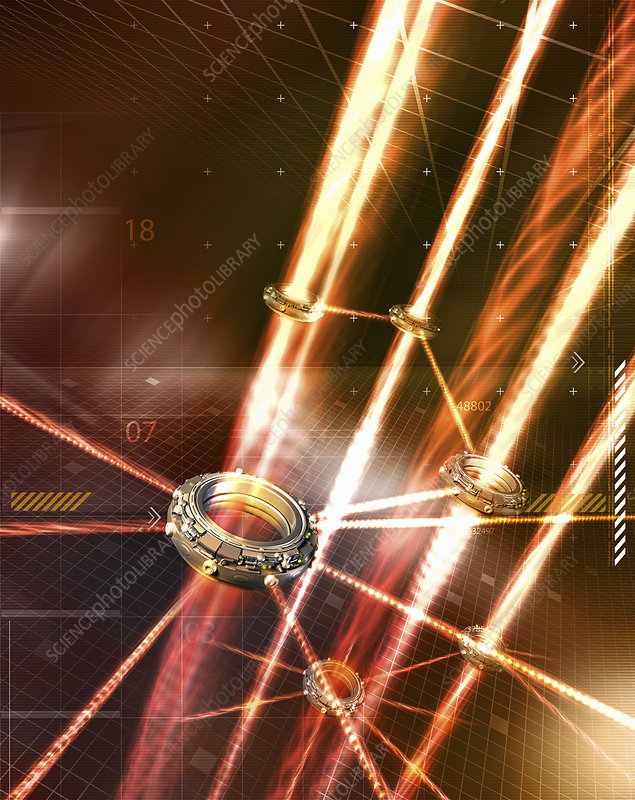 Light beams forming network, illustration