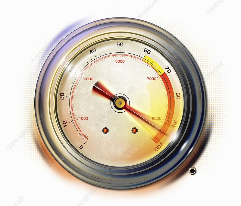 Close up of pressure gauge red warning, illustration