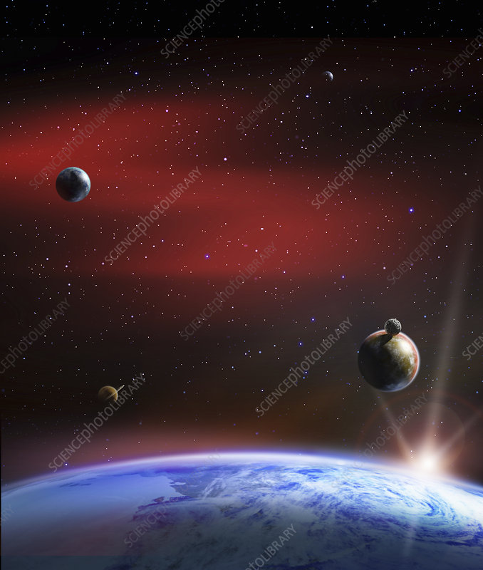 Planets in outer space above earth, illustration