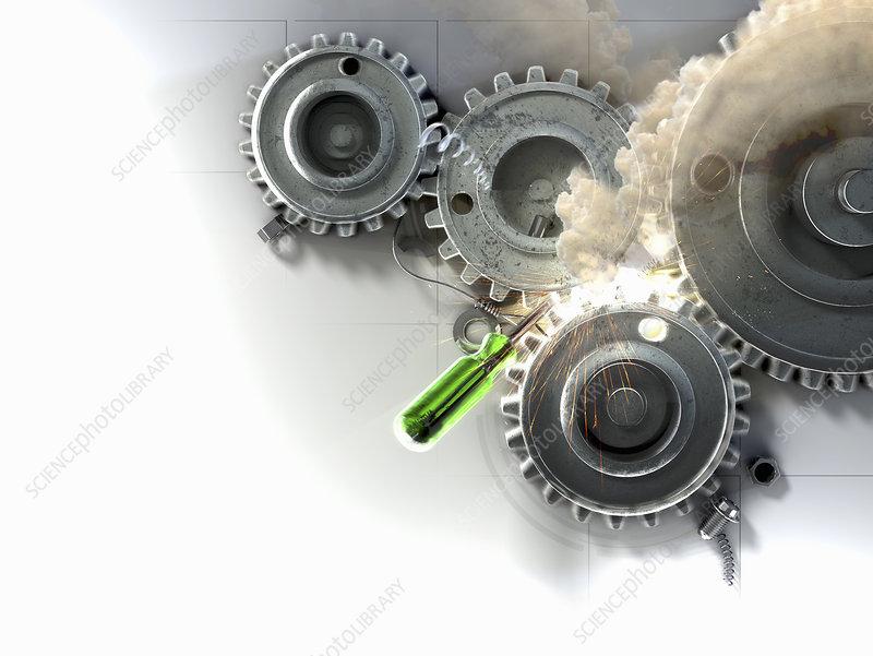 Smoke from screwdriver stopping cogwheels, illustration