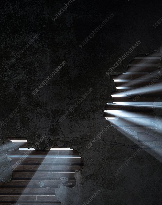 Light shining through holes in wall, illustration