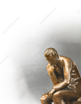 Businessman statue in The Thinker pose, illustration