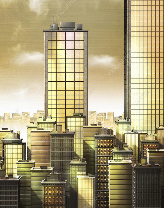 Golden skyscraper office buildings, illustration