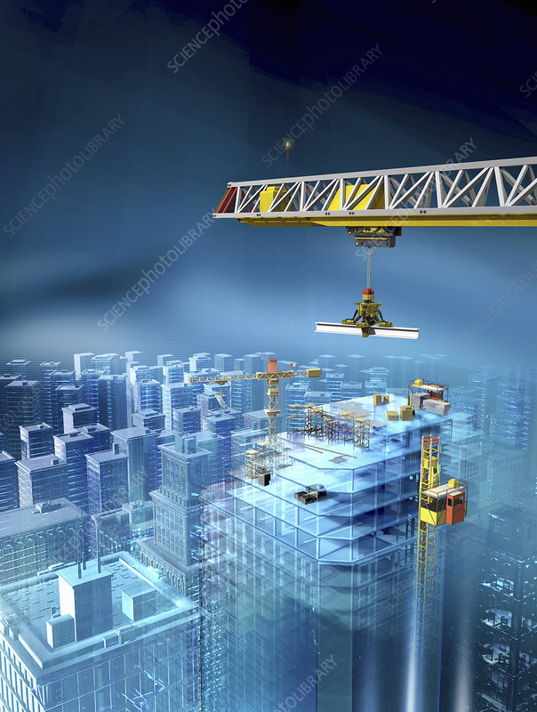 Crane lifting girder over city, illustration