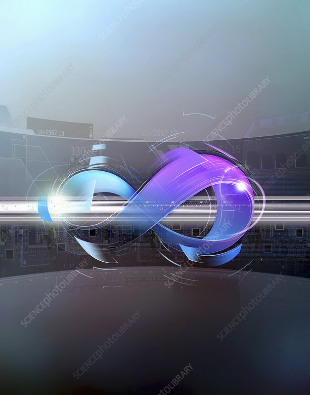 Infinity symbol in front of circuit board, illustration