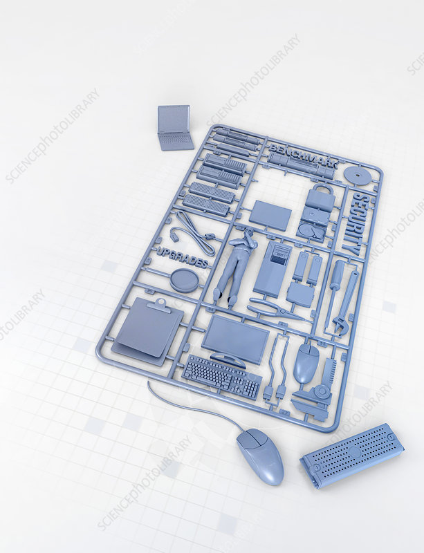 Plastic computer assembly kit, illustration