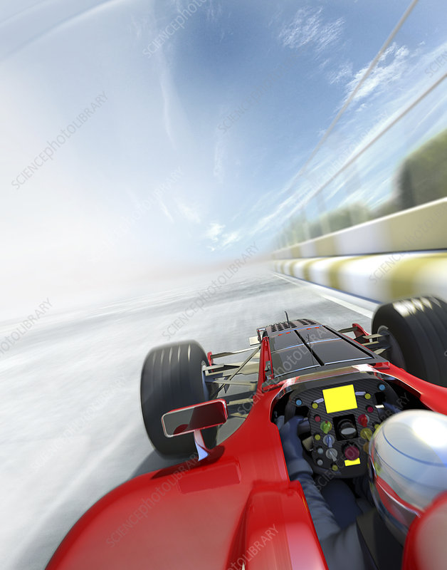 Racing car and driver speeding on race track, illustration