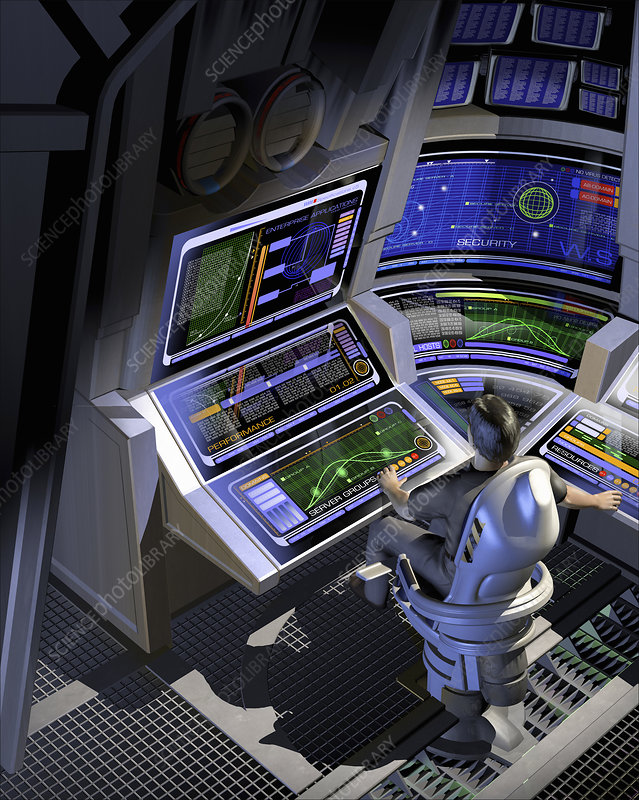 Man working at control panels, illustration