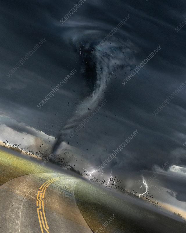 Circuit board road leading to tornado, illustration