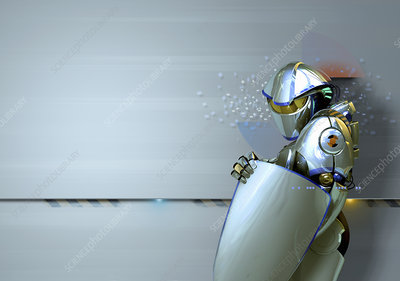 Shiny futuristic robot guard with shield, illustration