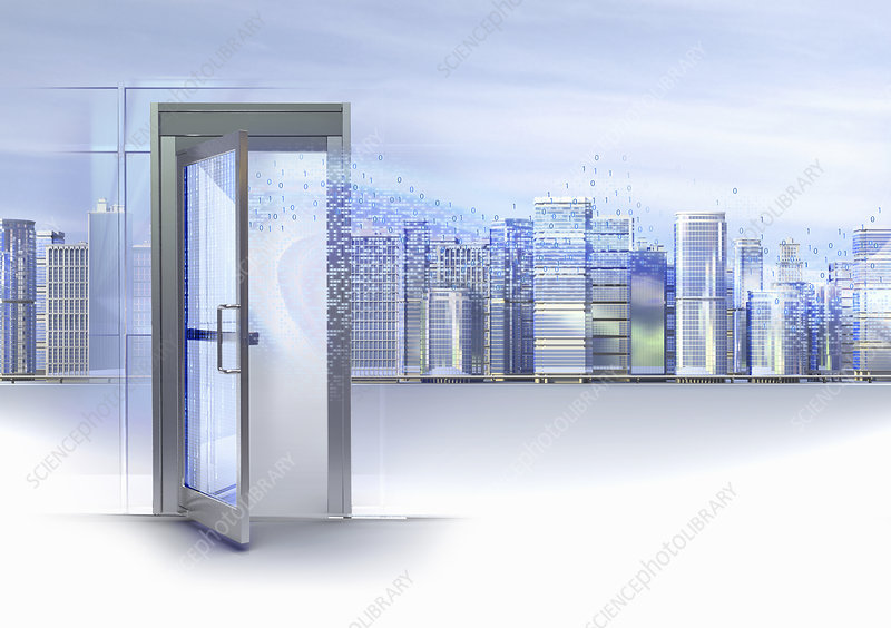 Binary code streaming through open doorway, illustration