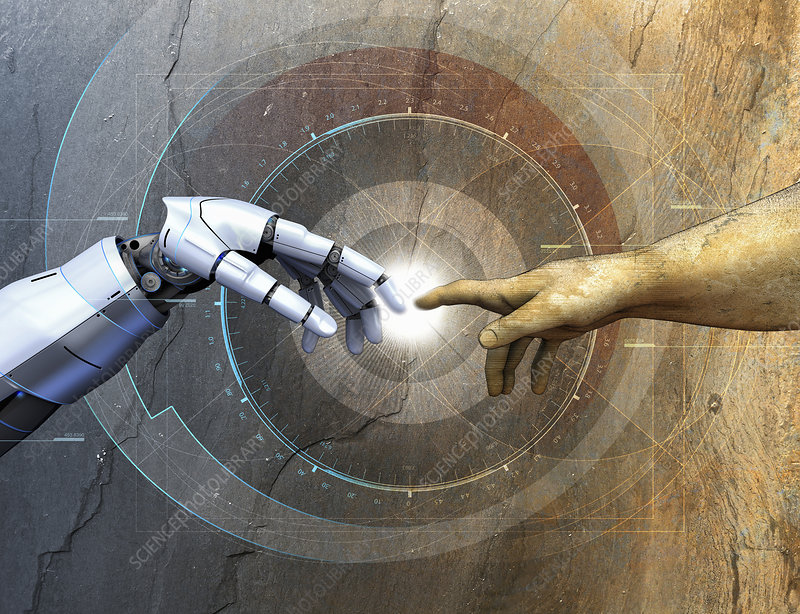 Human arm touching robotic arm over diagrams, illustration
