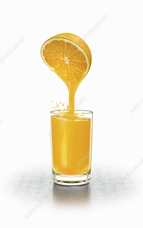 Fresh juice squeezed from half orange, illustration