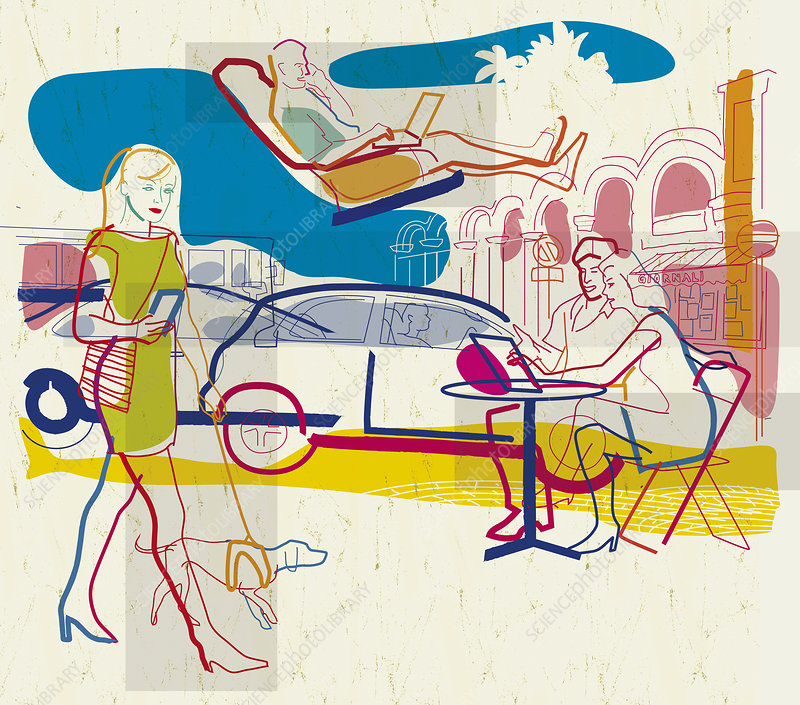 People on the move using wireless technology, illustration