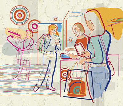 Women shopping using wireless technology, illustration