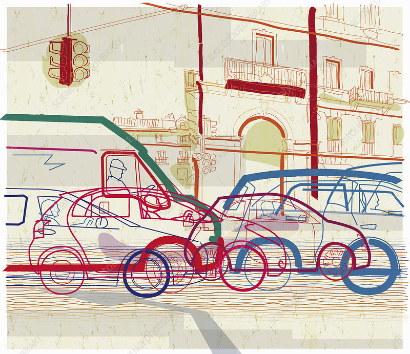 Traffic jam on urban street, illustration