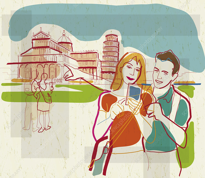 People using wireless for sightseeing, illustration
