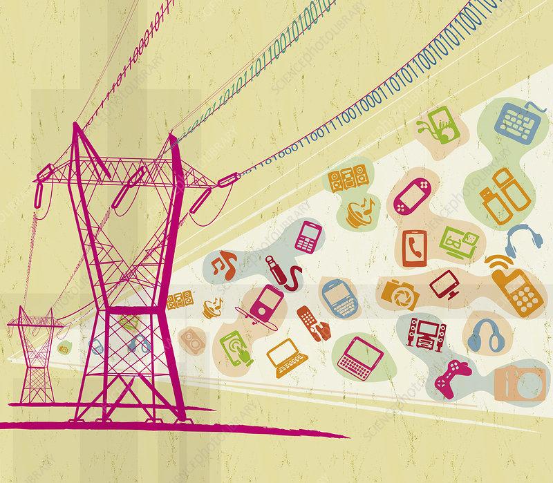 Digital technology devices and symbols, illustration