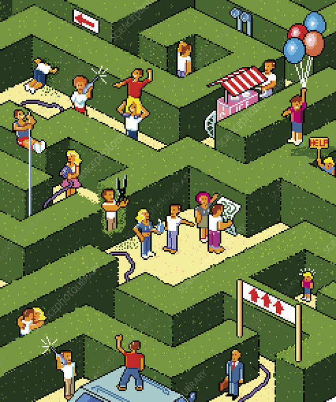 People lost in maze looking for way out, illustration